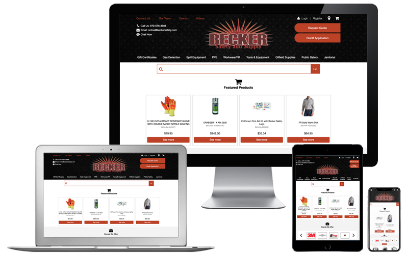 Becker Safety and Supply website on computer desktop, laptop, tablet and iphone, SuiteCentric Case Study