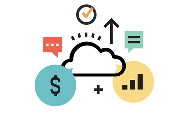 Cloud platform, money symbol, chat symbol, Cloud ERP
