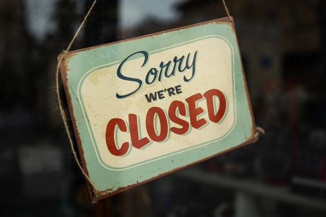 Sorry we're closed sign
