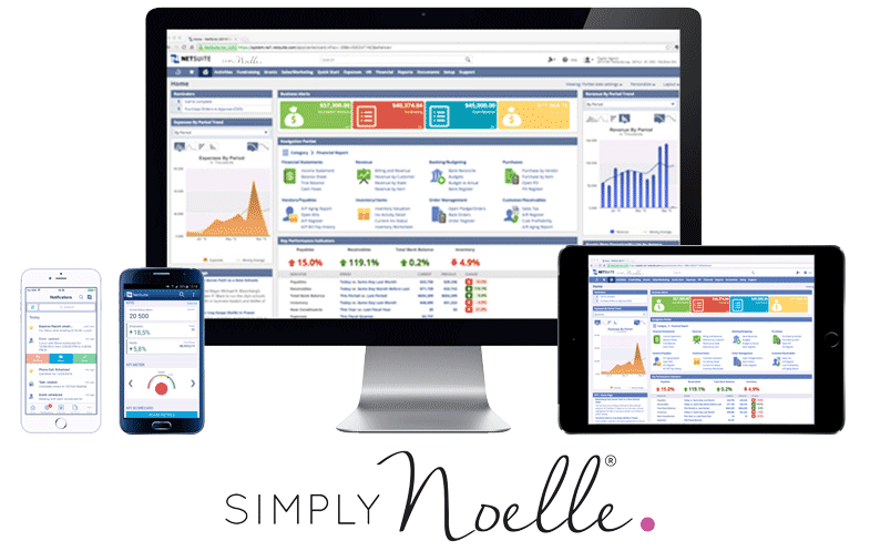 Computer Desktop, tablet and smartphones with NetSuite platform displayed, report and analytics dashboard, NetSuite pricing