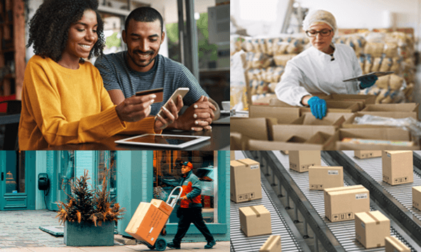 Couple online shopping, pick & pack, delivery process