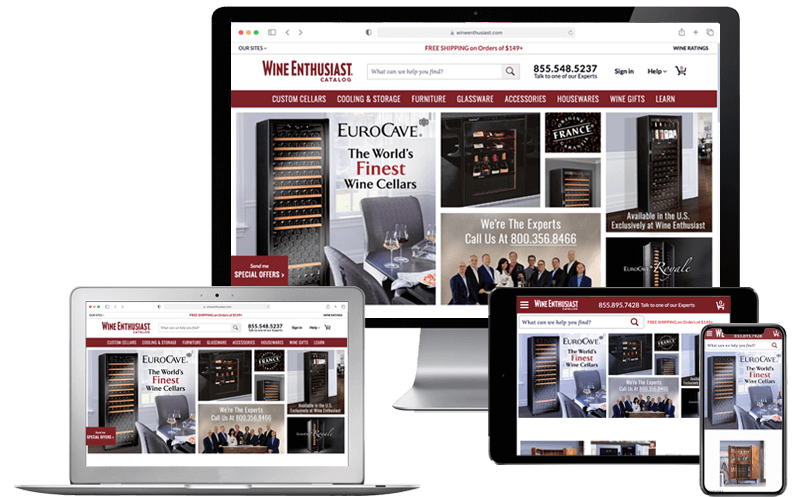 Computer desktop, laptop, tablet, and iPhone with Wine Enthusiast Companies website on screen, NetSuite Case Studies